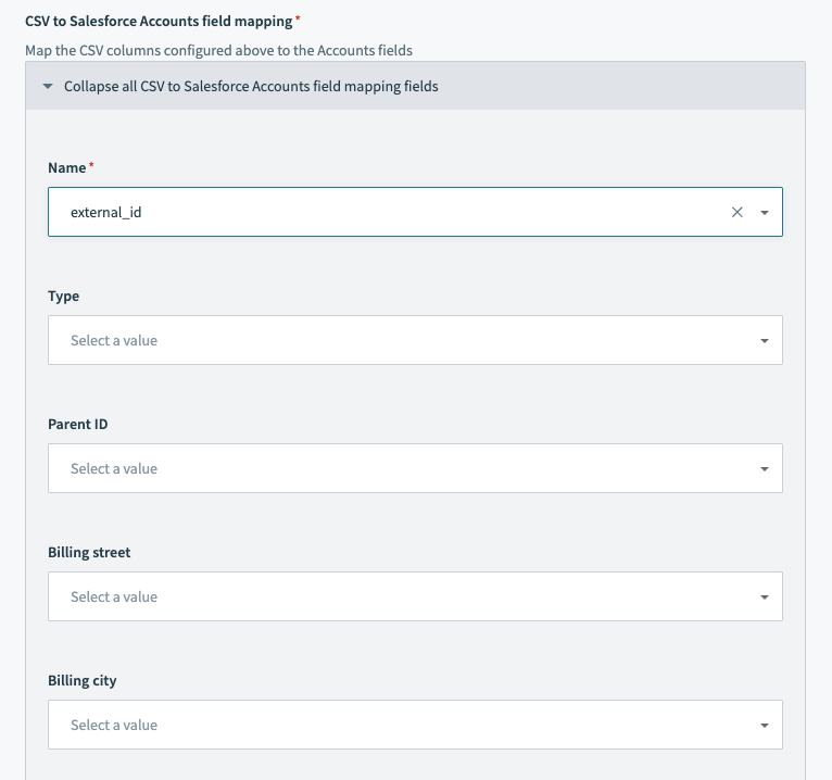 Salesforce bulk upsert action - configured fields mapping section