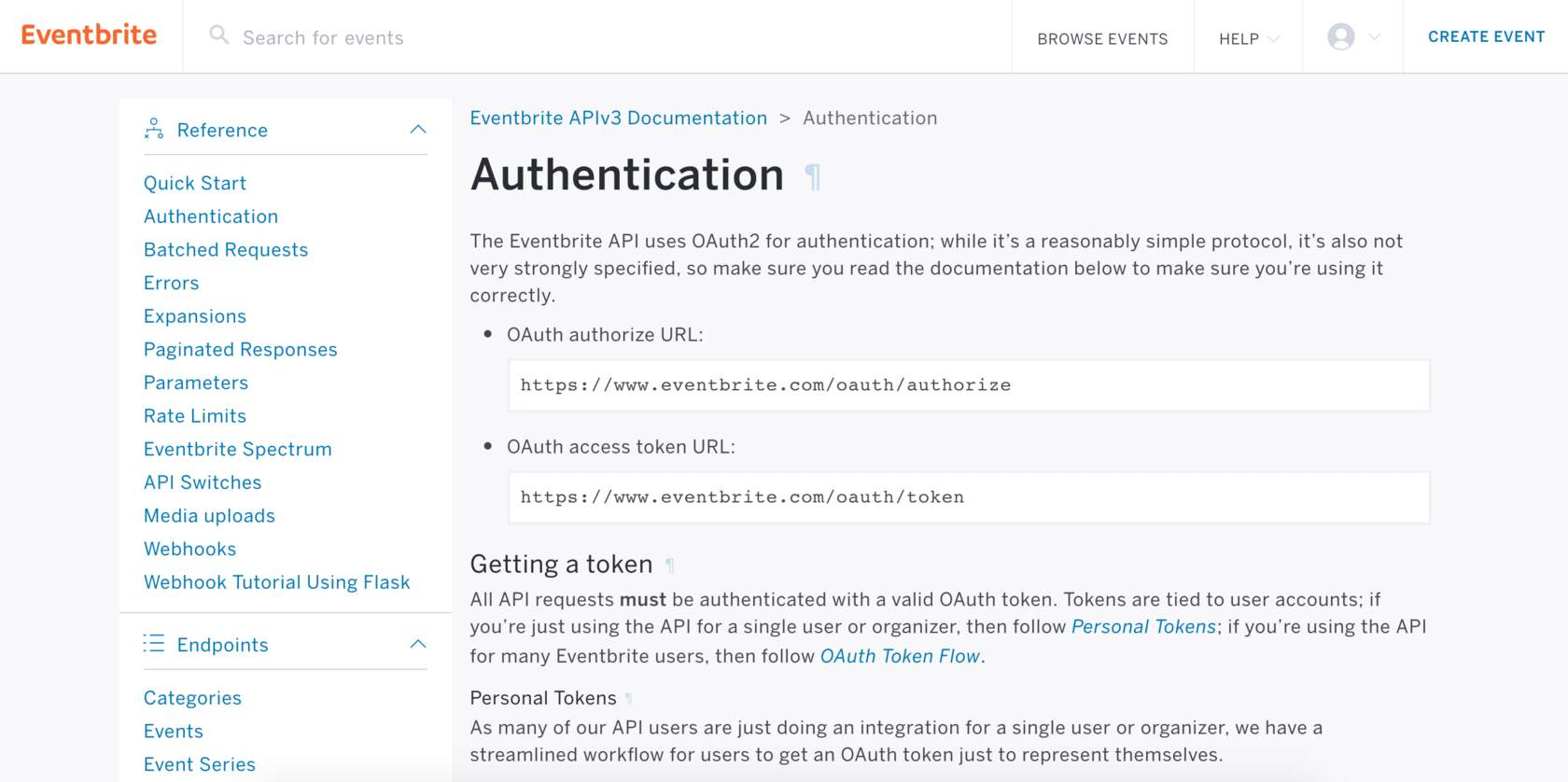 Eventbrite OAuth2 authentication page