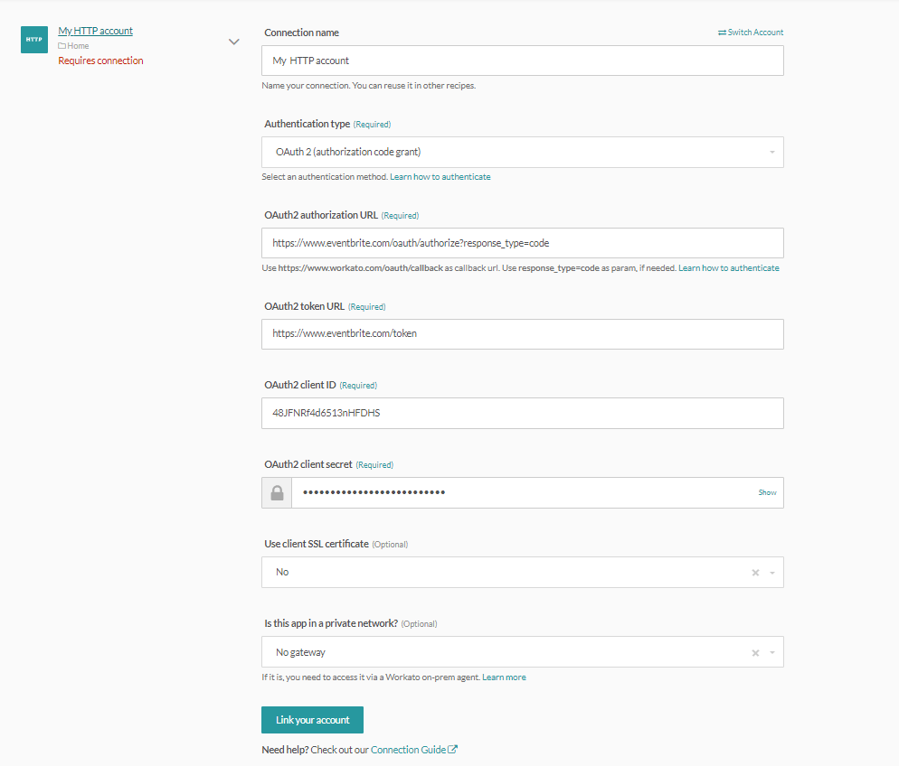 HTTP (OAuth2 auth code grant) connector's connection fields