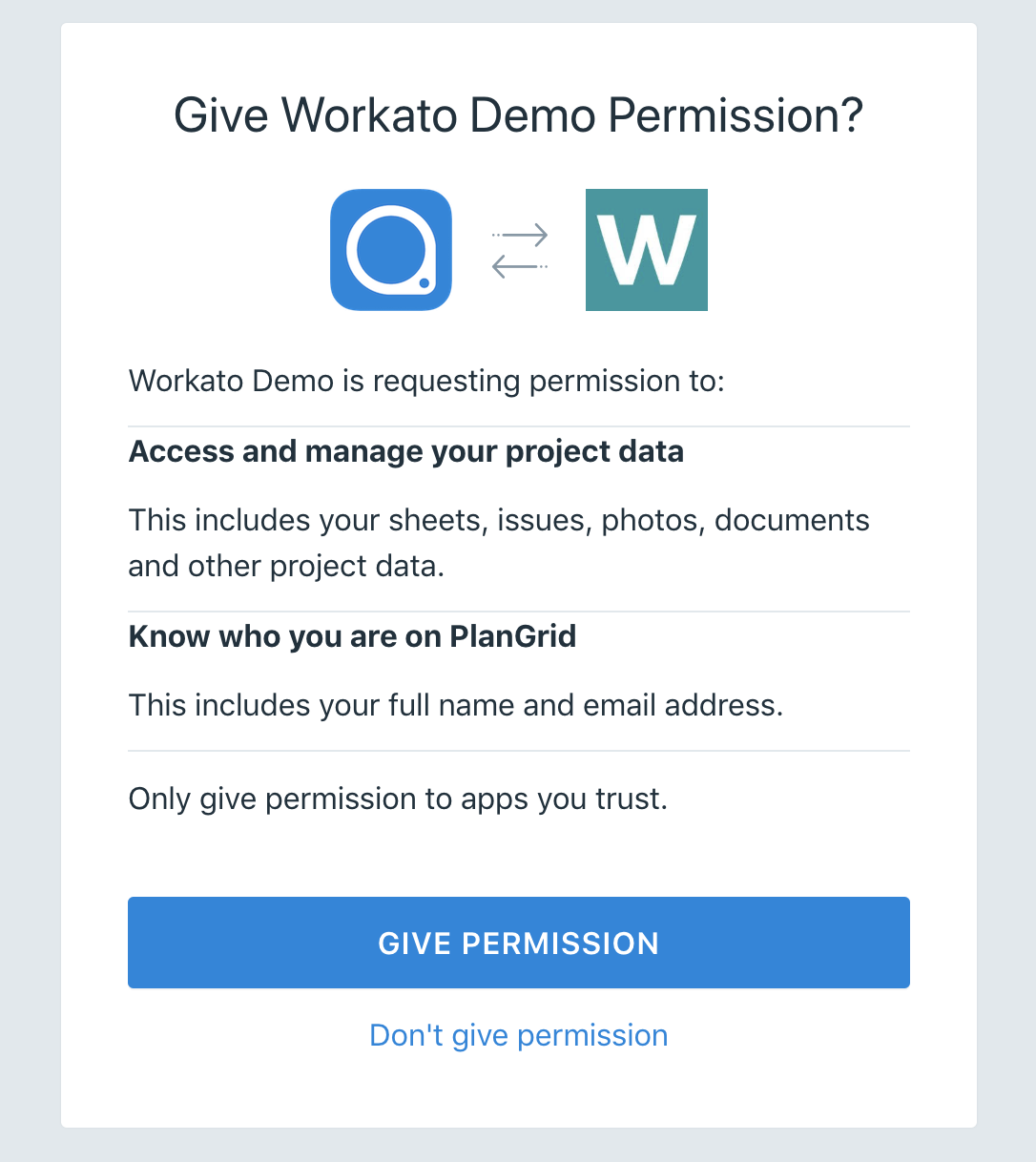PlanGrid connection page on Workato