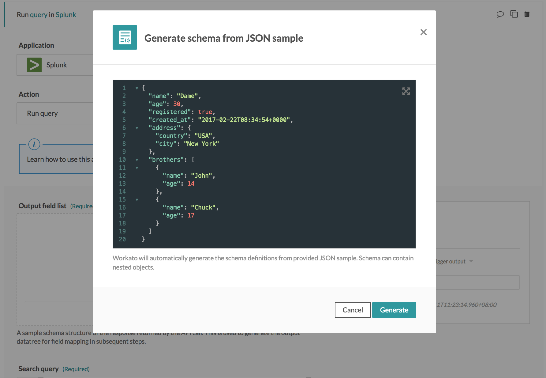 Sample JSON pop up