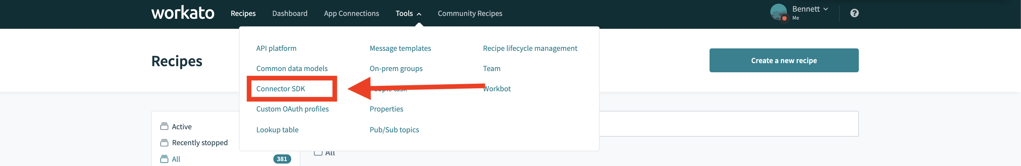 Navigating to Workato connector for webhook URI